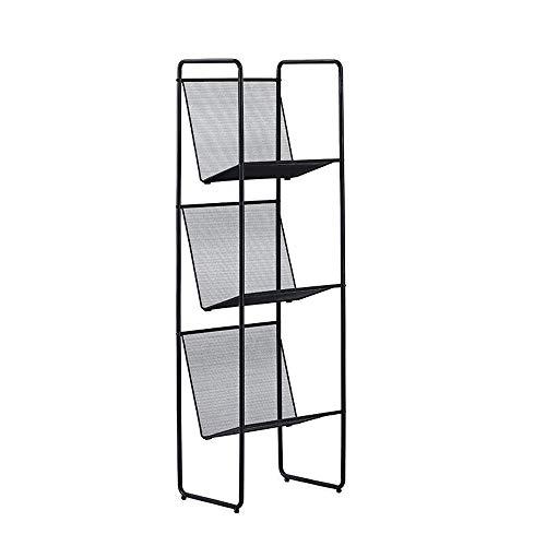 JCNFA planken Grid Hollow boekenplank smeedijzeren opslag rek vloer plank smalle kleine boekenplank CD rek DVD plank moderne decoratieve frame wit 11.41 * 15.15 * 49.80in Zwart