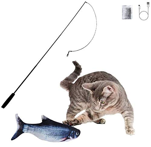 Flippity Fish Elektrisches Katzenspielzeug, otakujk Katzenminze Wiederaufladbar USB Kabel, Spielzeug Fisch mit Katzenminze mit Spielangel für Katze zu Kauen, Beißen, Spielen und Treten