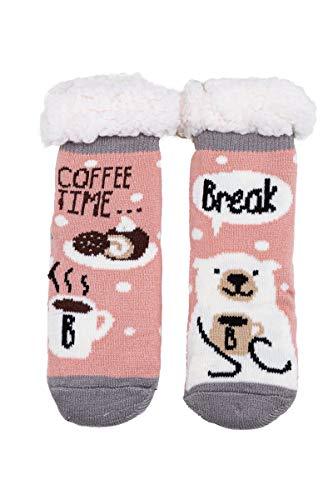 SOFTSAIL Mädchen-Socken, Tiermuster, dick, warm, bequem, weich, rutschfest, mit Fell gefüttert, DN709 Gr. Medium, Muster 6