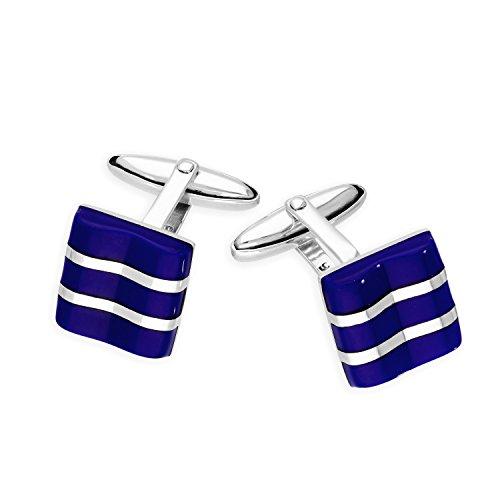Boutons de Manchette Carrés en Argent 925/1000 et Lapis Lazuli - Fermeture Fixe