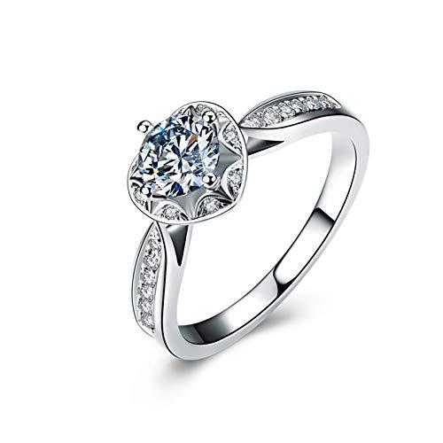 Beydodo Trauringe Weißgold 750, Verlobungsring Weißgold Herz Ring mit 4-Steg-Krappenfassung 0.3ct Diamant Hochzeit Ring Gr. 57 (18.1)