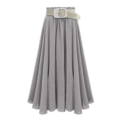 Mollikar Falda Larga Maxi de Sirena de Las Mujeres Color sólido Faldas con cinturón, Faldas largas…