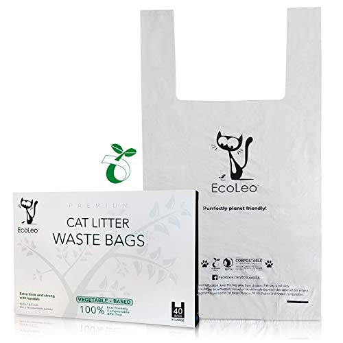 EcoLeo Cat Litter Waste Bags - X-Large, Certified Compostable, Plastic-Free, Thick, Leak Proof, Pet/Dog Poop Bags with Easy-Tie Handles,10.5 x 18.5 inch (40-Count)