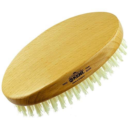 Kent MG3 Finest Men's Hair Brush & Beard Brush for Skin Care - 100% Natural White Boar Bristle Brush for Mens Grooming, Scalp Brush, 360 Wave, and Beard Straightener For Men's Hair Care