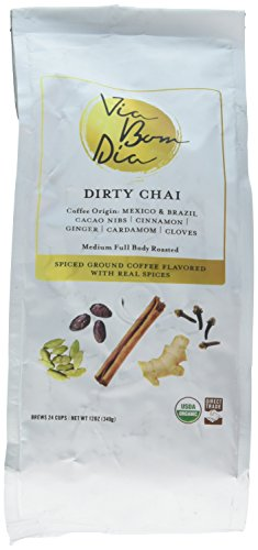 100% Naturally Flavored Coffee, Dirty Chai, Ground Coffee + Real Cacao & Chai Spices (no artificial flavors!), 12oz
