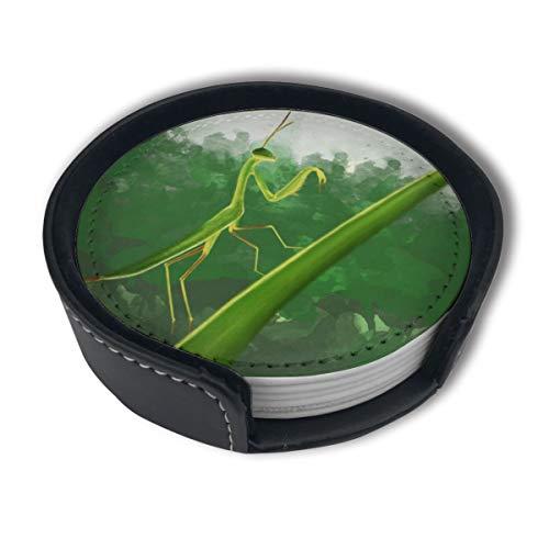 OUYouDeFangA Mantis Dessous de Verre avec Support, Tasses Rondes et Tapis pour Boissons, Convient pour la Maison et la Cuisine (6 pièces)