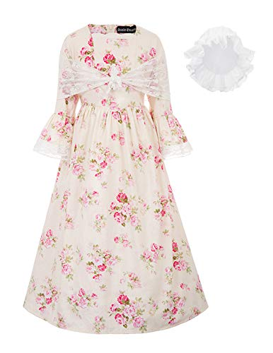 Pioneer Colonial Girl Costume Dress Child Prairie Pilgrim Costume 10Y Color-1