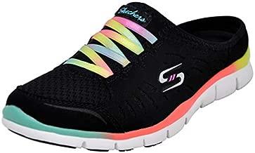 Skechers Sport Women's No Limits Slip-On Mule Sneaker, Black Multi, 9 Wide