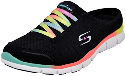 Skechers Sport Women's No Limits Slip-On Mule Sneaker, Black Multi, 11 M US