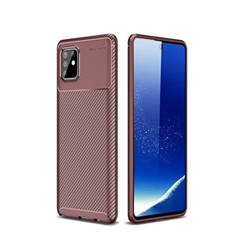 LENASH For A81 / M60 de Fibra de Carbono Textura TPU Prueba de Golpes (Negro) Caja del teléfono de la Galaxia Funda para Phone (Color : Brown)