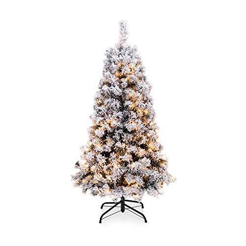 Christmas Decor 4.5ft Pre-Lit Snow Flocked Artificial Christmas Pine Tree Holiday Decor w/ 200 Warm White Lights WREATH