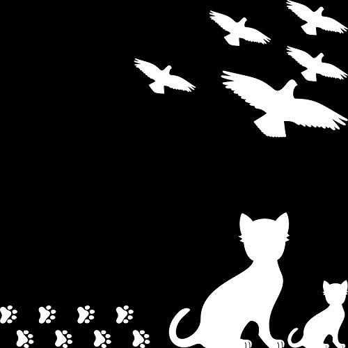 SFHTFTRGJRYJ Set 15 Pz Uccelli Uccelli Gatto Chic Casual Gatti Adesivi per Zampe Adesivi per Uccelli Taglio Taglio Protezione per Uccelli Contro Uccello Strike Deco Foil (Nero)