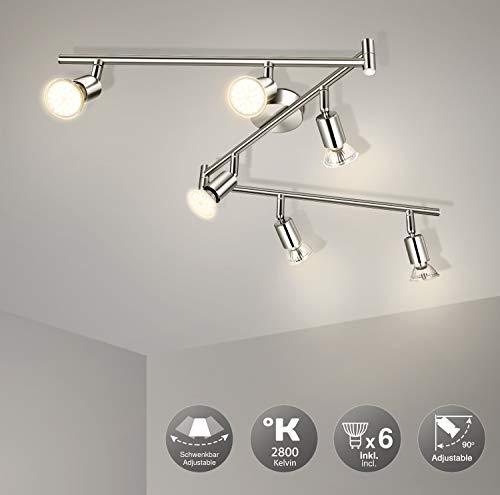 Lámpara de Techo LED Orientable con 6 focos, Wowatt Luz de Techo Interior Focos Giratorios 6x 6W Spot Bombillas GU10 Bajo Consumo 230V 2800K Blanco Cálido 600lm 83Ra IP20 Níquel Mate