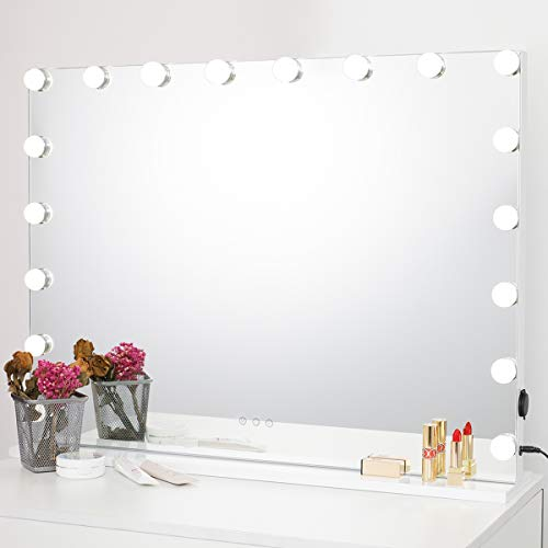SHOWTIMEZ Vanity Mirror with Lights Large Wall-Mounted or Tabletop Makeup Mirror with 18 LED Bulbs, USB Outlet, Smart Touch Control Vanity Mirror, W31.5 x H23.6in.
