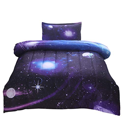 JQinHome Twin Galaxies Purple Comforter Sets Blanket, 3D Outer Space Themed Bedding, All-Season Reversible Quilted Duvet, for Children Boy Girl Teen Kids - Includes 1 Comforter, 1 Pillow Sham