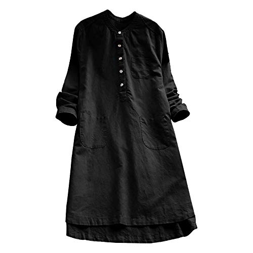 VJGOAL Damen Kleid, Damen Lässige Retro-Baumwolle und Leinen Knopf Lange Tops Bluse Lose Lange Ärmel Mini Hemd Kleid … (48, Schwarz)
