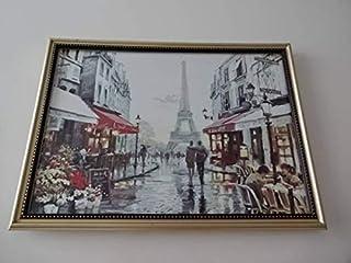 アートフレーム写真ポスター付A4額選択可パリ街並み絵画風エッフェル塔フランス