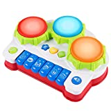SGILE Early Education Piano & Drum Instrument  Gift Toys for 3 Year Old Kids with 4 Musical Modes, Animal Sounds and Light