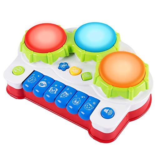 SGILE Early Education Piano & Drum Instrument - Gift Toys for 3 Year Old Kids with 4 Musical Modes, Animal Sounds and Light