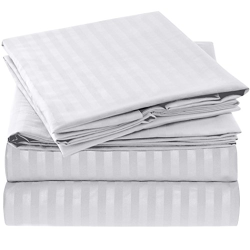 Ideal Linens Striped Bed Sheet Set - 1800 Double Brushed Microfiber Bedding - 4 Piece (Queen, Beige)