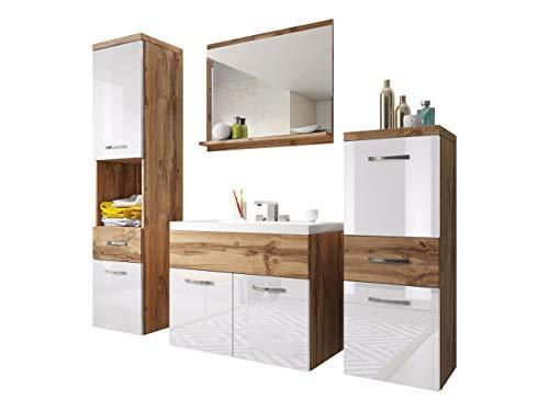 Badmöbel Set Bella I mit Waschbecken und Siphon, Modernes Badezimmer, Komplett, Spiegel, Waschtisch, Hochschrank, Hängeschrank Möbel (Wotan/Weiß Hochglanz)