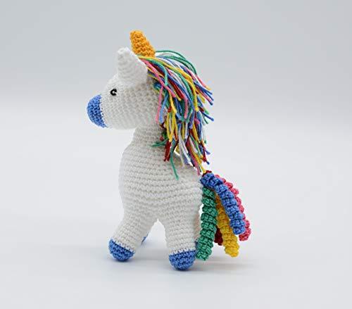 Unicornio del arcoiris, regalo azul del potro, unicornio de ganchillo, juguete del unicornio de la felpa, pequeño caballo, unicornio relleno