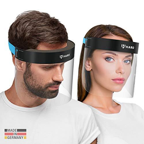 HARD 2x Pro Visier Gesichtsschutz Zertifiziertes Face Shield mit Anti Beschlag, Gesichtsvisier, Gesichtsschild Made in Germany für Erwachsene - Schwarz/Blau