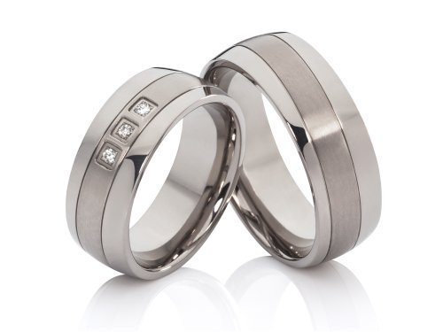 2 alianzas de boda anillos de compromiso anillos de póster con anillos de titanio y 3 circonitas en mujer y grabado