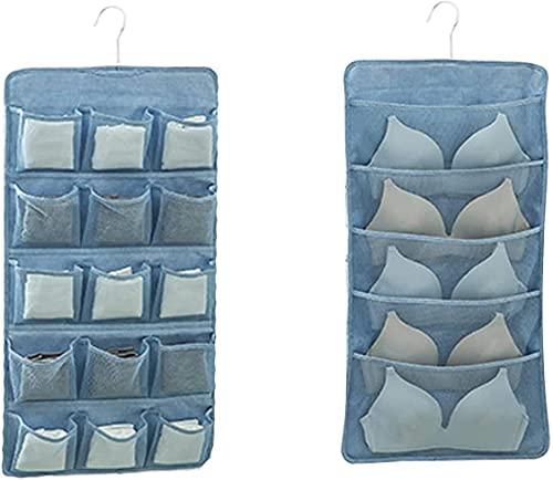 Torey Perchero para colgar ropa interior, bolsa de almacenamiento, accesorios sujetadores, calcetines, bolsa de almacenamiento de encaje para guardar ropa, tela Oxford (azul)