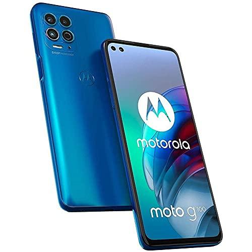 Moto G100 (128GB, 8GB) 6.55' 90Hz, Snapdragon 870, Dual SIM Euro 5G /Global 4G LTE GSM Unlocked (T-Mobile/AT&T/Metro) International Model XT2125-4 (HDMI + Fast Car Charger Bundle, Iridescent Ocean)