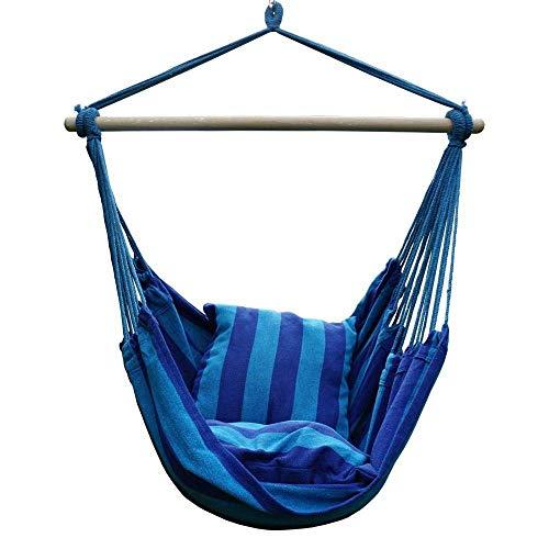 CHENTAOCS New Hangstoel hangstoel Swing Chair Seat met de 2 Kussen Binnen Buiten Garden (Color : Blue 130X100cm)