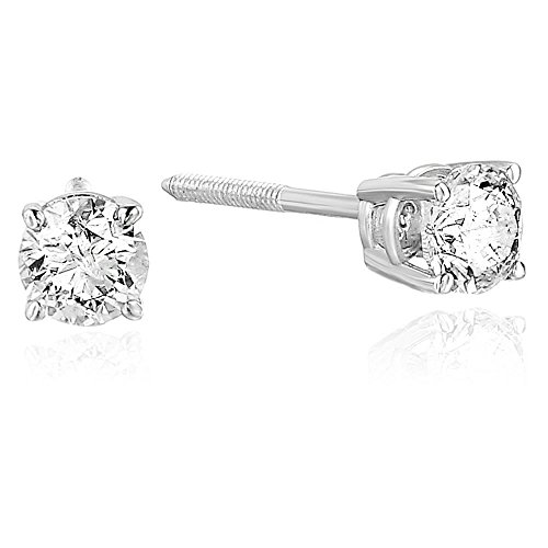 1/4 cttw Certified Diamond Stud Earrings 14K White Gold Screw Backs I1-I2 Round