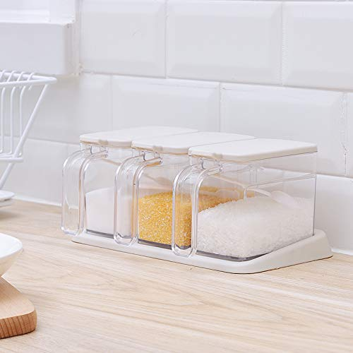 Poeland Clear Seasoning Box 3 Pieces Clear Seasoning Storage Container for Spice Salt Sugar Cruet Condiment Jars with Spoons