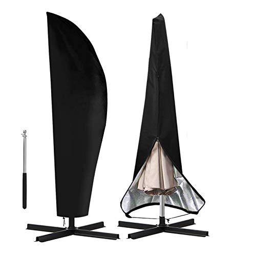 otumixx Ampelschirm Schutzhülle mit Stab, 2 bis 4 M Große Sonnenschirm Schutzhülle Wasserdicht UV-Anti Winddicht Sonnenschirmhülle für Ampelschirm, 280x30/81/45cm - Schwarz