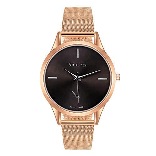 Souarts Damen Armbanduhr Einfach Mesh Metallarmband Casual Analoge Quarz Uhr Silber Gold Rosegold Schwarz