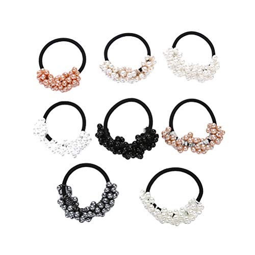 Lurrose Haargummi mit Perlen, geknüpft, elastisch, für Mädchen, Kinder, Frauen, verschiedene Farben, 8 Stück