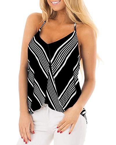 ACHIOOWA Camisetas Sin Mangas para Mujer Verano Tirantes Cuello en V Rayas de Cordones Básica Elegante Camisa Top Sólida Fiesta Playa 3-Negro XXL