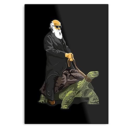 Gangnam Hipster Riding Turtle Schildkröte Galapagos Animal Darwin Kunstdruck, Wandkunst, Wandkunst für Schlafzimmer