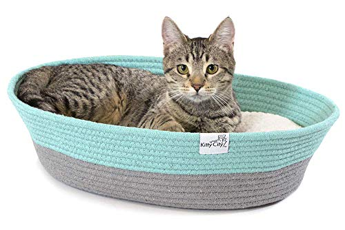 Kitty City Cotton Rope Woven Cat Bed, Cat House- Colors may vary, Cat Rope Bed