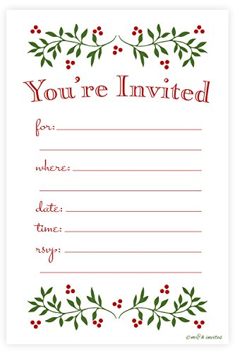 Classic Christmas Holiday Invitations - Fill In Style (20 Count) With Envelopes