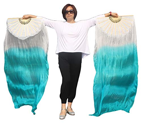 Winged Sirenny 140 Colors Adult 59″ Belly Dance Worship Praise Silk Fan Veil Flag Streamer (White-Peacock Green)