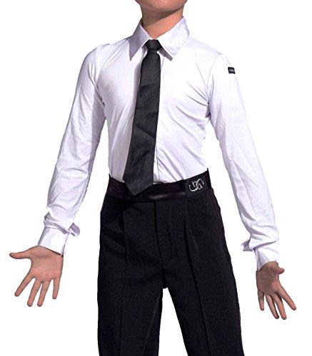 SCGGINTTANZ GD5101 Männlich Latin Latein Moderne Moderner Gesellschaftstanz Der Ball Tanz Professionell Standard Rennkleidung Für Der Junge Kind (160, (FBA) Shirt(White))
