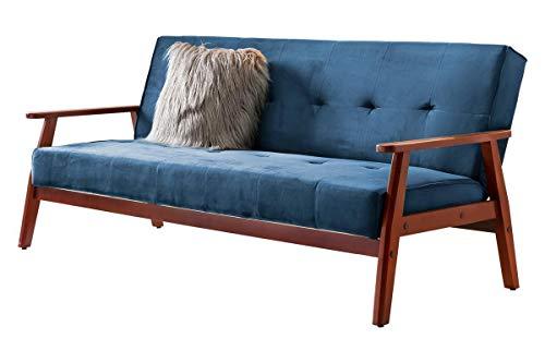 Unbekannt SalesFever Sofa Schlafsofa skandinavisch Samt blau Holz, Samt, Gestell Eukalyptus massiv L = 190 x B = 85 x H = 81 blau, kirschbaumfarbig