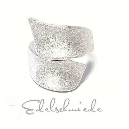 moderner breiter Silberring in 925 Silber gewölbt u mattiert #60
