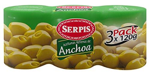 Serpis, Oliven gefüllt mit Anchovis, 3 x 120 g