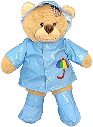 suministro directo de los fabricantes Teddy Mountain azul Raincoat con botas botas botas Oso de Peluche Traje (16 )  tienda de venta