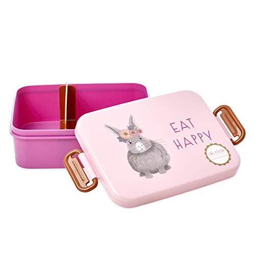 Rice, wunderschöne Lunchbox mit Abtrennung, Muster Farm Animals print pink