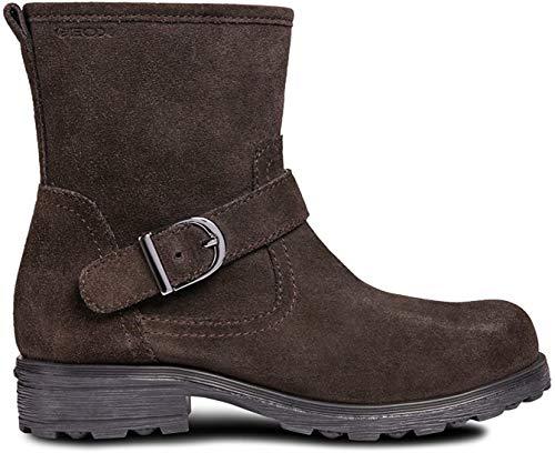 Geox J84A5B Olivia Stivali Modischer Mädchen Leder Stiefel, Biker Boot, Reißverschluss, warm gefüttert, atmungsaktiv braun (DK Coffee), EU 32