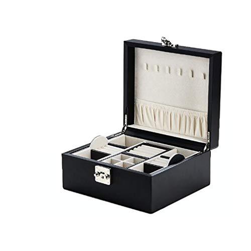 Joyero Cajas de joyería con cerradura con caja de almacenamiento extraíble Compartimiento Perchas collar de gran capacidad Organizador Caja de regalo de gama alta Organizador de joyero para mujeres ni