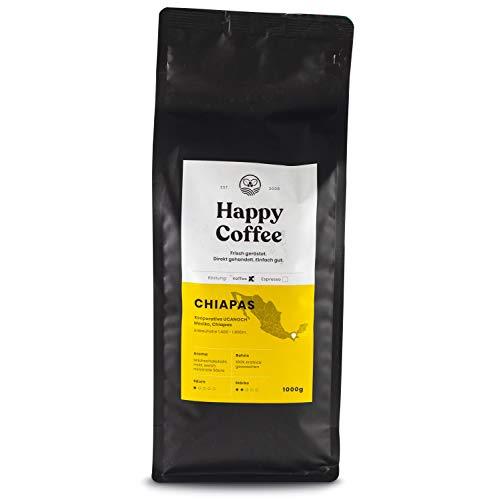 Happy Coffee Bio Filterkaffee 1kg [Chiapas] I Frische fair-trade Kaffeebohnen direkt aus Mexiko I Arabica Kaffee ganze Bohnen I Coffee beans für Filtermethoden